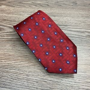Jos A Bank Red w/ Blue & White Check Tie